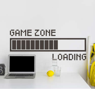 A loading video game zone sticker for teens rooms that will inspire them about playing their favourite games. This design is very easy to apply.