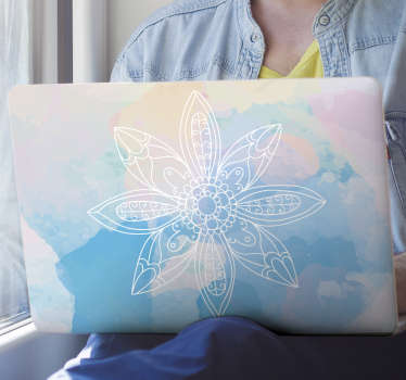 적용하고 유지하기 쉬운 노트북 디자인을위한 다채로운 만다라 꽃 데칼. 이 디자인은 파란색 배경에서 만다라를 포함