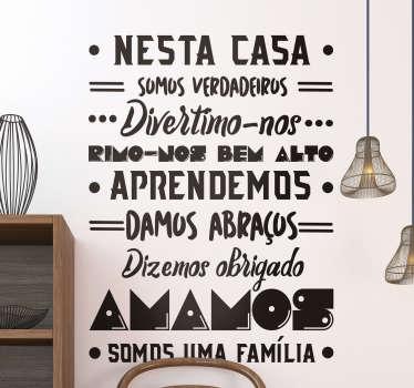 Autocolantes decorativos de texto Nesta Casa Amamos
