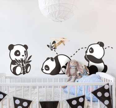 Panda playing with butterfly wild animal decal design for kids bedroom. This design contains little pandas with butterfly and it's easy to apply.