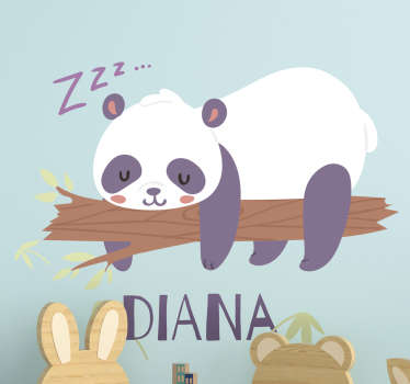 Personalisable Panda wild animal kids wall sticker design of panda on a tree making zzz sound. This design can be personalised with the name you want.