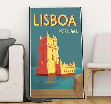 Complementa a decoração da tua casa com este sublime vinil de cidades e países com uma ilustração em estilo vintage da Torre de Belém!