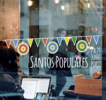 Prepare o seu estabelecimento para os Santos Populares, uma das maiores festas do povo português, com este vinil decorativo de festividades!