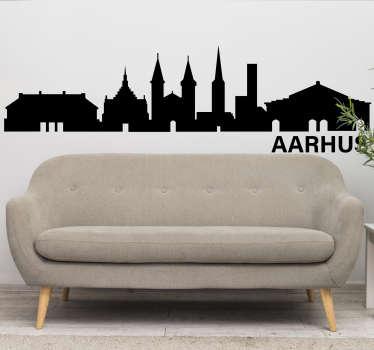 Aarhus city skyline silhuet vægoverføringsbillede design af en by med alt det funktioner som tårn, monumenter og bygningsstruktur. Let at anvende design.