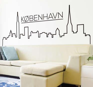 Københavns city skyline silhuet vægklistermærke design til din stue eller soveværelse. Dette design er en danmark hovedstad i et tegningsmønster.