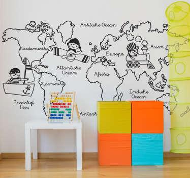 Kontinenter illustration verdenskort vægklistermærke design, der indeholder børn rundt om kortet med navnene på kontinenterne i et tegningsmønster.