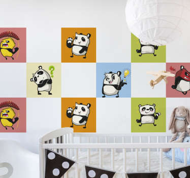 Playing pandas wall border children wall sticker design of pandas on different colour background. This design is self adhesive and easy to apply.