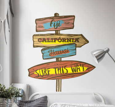 Country surf table sign wall sticker design. This product is a design of a city location on a wooden signage.This design is easy to apply the surface.