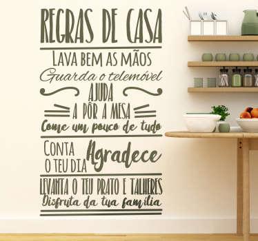 Autocolantes decorativos de casa Regras de Casa