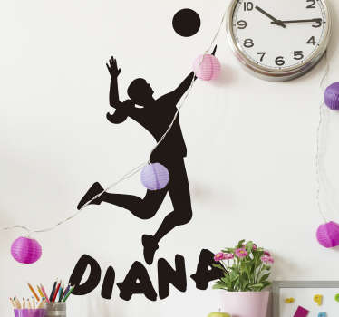 Volleyball player silhouette  sticker of female, designed to match the background of your desires space. Available in different sizes