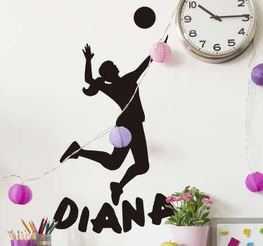 Original vinilo decorativo de deporte juvenil con nombre personalizable de una jugadora saltando rematando el balón. Fácil de aplicar.