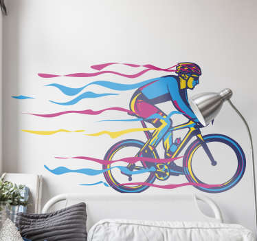 Multiple coloured bicycle cycling wall decor in different size . This product is made of the best vinyl in the market and easy to put on the wall.
