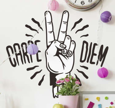 A Carpe Diem symbol of fingers motivation wall decal in a black  and white colour. This is a design of a two fingers in the air and will fit anywhere.