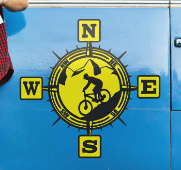 A mountain bike compass coordinate sticker created in yellow and black colour nice for your bike to give sense if direction and can be in any size.