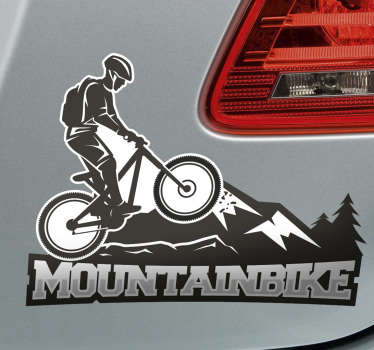 Mountain biking in black and white wall sticker. This is a special design of a biker riding up the mountain with strength and focus