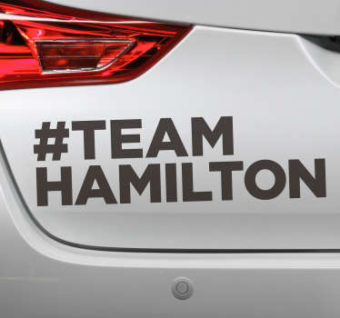 #Team Hamilton vehicle sticker design for your car. This is a text design with a hash tag Hamilton. This product is easy to apply.