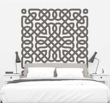 A decorative Celtic pattern headboard wall sticker for your bedside to create a beautiful bedroom appearance and enhance a beautiful sleep.