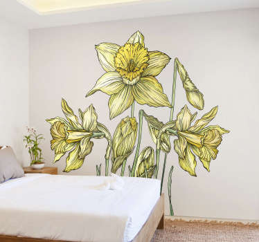 Daffodils flower plant home decal design of the a yellow bright bulbous European origin flower that will lighten up the surface of your home