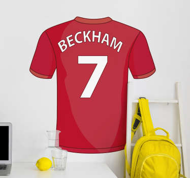 David Beckham football sport wall decal for your teens bedroom to feel happy. This is a design of Beckham's name and number 7 on a red jersey.