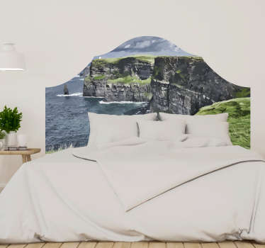 Enjoy a beautiful sleep in your bedroom with this Irish cliffs headboard wall decal just by your bedhead, creating an exotic view that you will love.