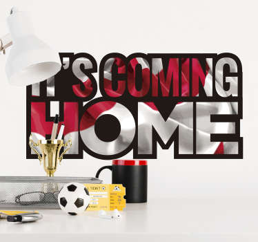 It's coming home football wall sticker for teens room and in the living room. This product is designed on a white and red graphic background.