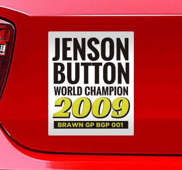 Jenson Button world champion car sticker designed on a white background with the text  of victory. This product is easy to apply on cars and vehicles.