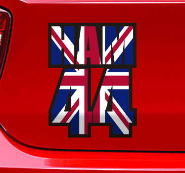 Lewis Hamilton 44 outline vehicle decal design of the number of the car racing  genius and his name on a British flag. This product is easy to apply.