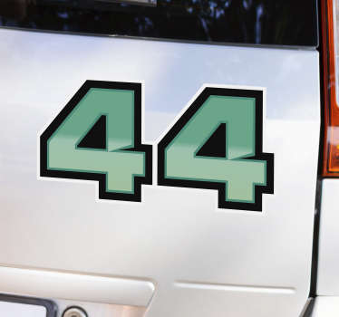 Lewis Hamilton 44  car sticker design of the British car racing driver's number 44. This product can be in any size of your choice.