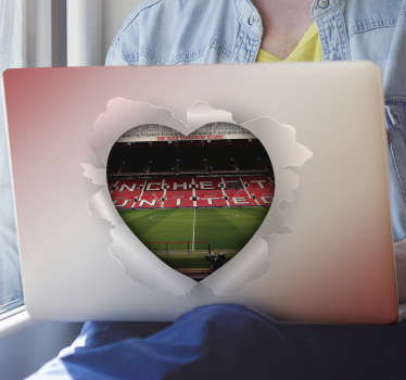 Man united stadium laptop sticker for your laptop and your special device. This product is created in a heart shape opened in floral style.