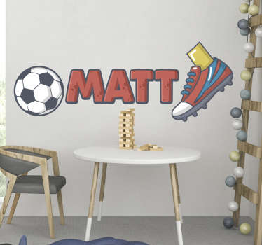 Personalise your name on this personalised ball and shoes football wall sticker design of a ball, shoes and personalize name that is easy to apply.