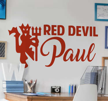 Personalised man united football wall sticker design created with the club symbol that can be personalised with your name and in any size of you want.