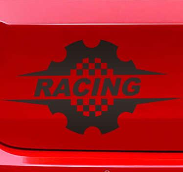 Racerbil hjul vægklistermærke designet på en orange baggrund med tekst. Dette produkt kommer i forskellige størrelser og er færdigt i mat af høj kvalitet.