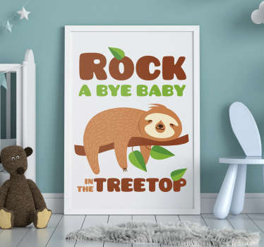 A rock a bye baby animal nursery rhyme wall decal that will keep your baby to sleep with the amazing look on the wall. This design can be in any size.