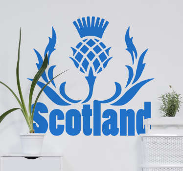 Scottish thistle wall decal that is created from the  national sottish emblem  This product is created in blue and can be in any size you want it.