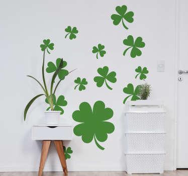 Vinilo pared de planta de trébol de cuatro hojas en color verde y será fantástico en la habitación de tus hijos ¡Envío a domicilio!