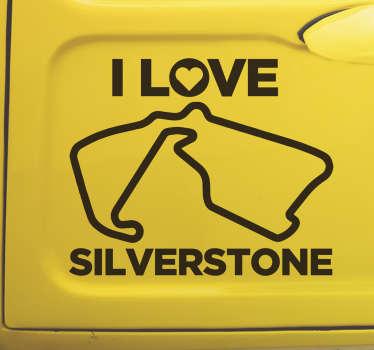 """Vinilo adhesivo para coche Silverstone con frase """"I LOVE SILVERSTONE"""" y un circuito de carreras ¡Envío a domicilio!"""