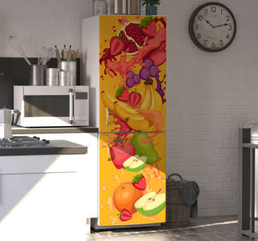 This is a creative fruit drawing  fruit fridge wrap design  made just for your amazement with high quality material that does not form wrinkles.
