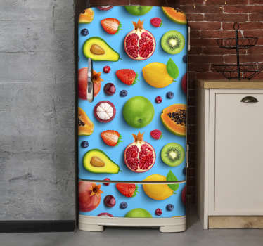 This is an amazing kitten colourful fruits for fridge with blue background decal that will leave you with every excitement.