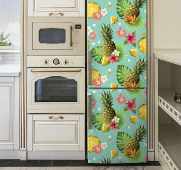 An amazing green colour tropical fruits fridge wrap that is just perfect for for your fridge. This product is made of high quality matte.