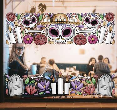 Multi-gekleurde ornament venster van de dode raamzelfklevende sticker is ontworpen met botten, graf, kruis en alles met betrekking tot de herinnering aan de doden.