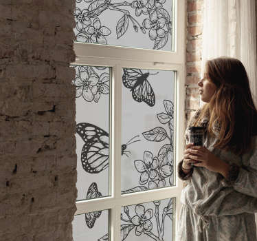 A black window lepidoptera with flower window sticker design that is easy to apply on the surface leaving a beautiful and amazing feeling to you.