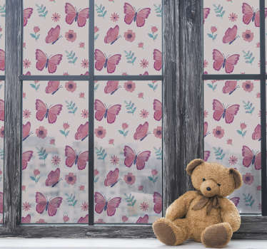 Colourful butterflies window sticker design created in purple and a mix of other colours. This product will suit your child bedroom and easy to apply.