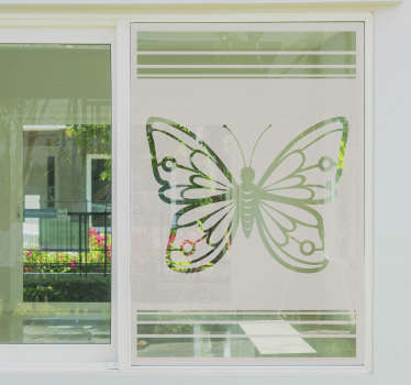 A green transparent beautiful butterfly window decal designed on an almost white transparent background for nice reflection to any environment.