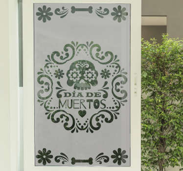 Day of the dead historic window decal that is designed in simple green colour with detailed representation of the history. Finished in high quality.