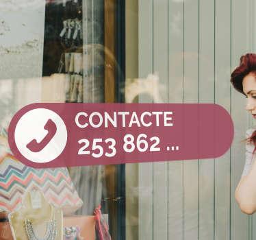 Informa os teus clientes do contacto telefónico do teu estabelecimento ou negócio com este fantástico autocolante de negócios.