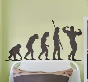 Gym evolution wall sticker art of how you evolve from the start of  a gym. This  inspiration design is of high quality matte and can be in any size.