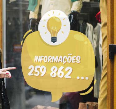 """Avisa os teus clientes que podem contactar-te com este fantástico vini negócios para montras com a palavra """"Informações"""" seguido do número!"""