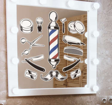 Barbing tools instrument wall sticker for barbing shops and barbing corner with high quality material and easy to apply on wall or mirrors.