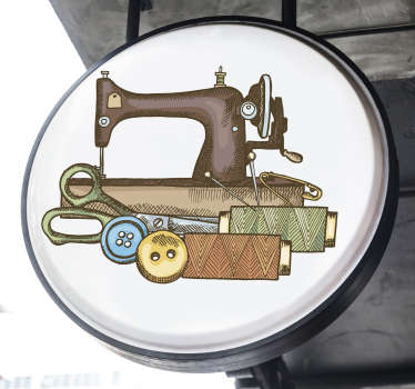 This sewing machine kit wall art sticker design creation of machine, needle, thread and pin  .This design can be in any size of your choice