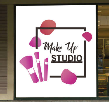Makeup studio artist wall sticker that is design in pink with text in square border. This product is made of high quality matte.